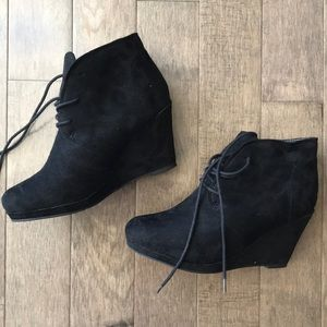 Brand new Black suede wedge booties